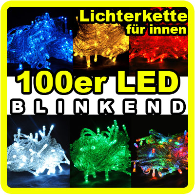 100er led lichterkette blinkend 10 meter f r innen weihnachtsbaum dekoration ebay. Black Bedroom Furniture Sets. Home Design Ideas
