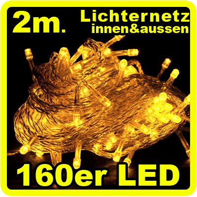 160 led lichterkette lichternetz gelb innen aussen ip44. Black Bedroom Furniture Sets. Home Design Ideas