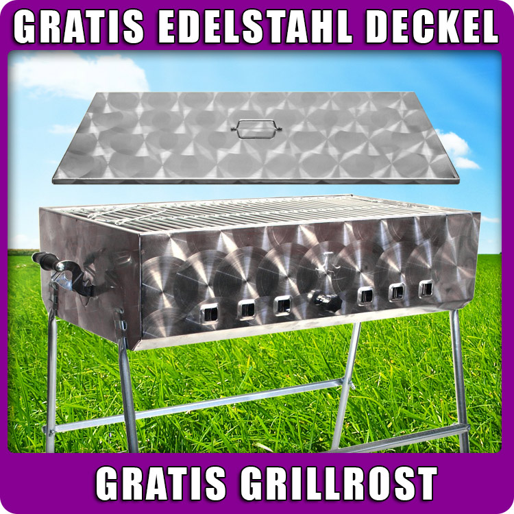 edelstahl mangal schaschlikgrill mega plus mit deckel bbq holzkohlegrill. Black Bedroom Furniture Sets. Home Design Ideas