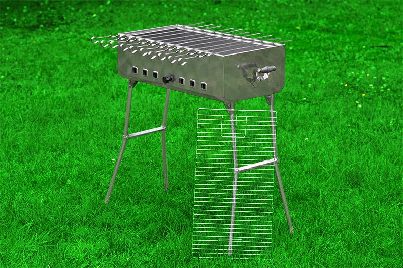 mangal edelstahl schaschlikgrill mega turist holzkohlegrill grill 10 spiesse. Black Bedroom Furniture Sets. Home Design Ideas