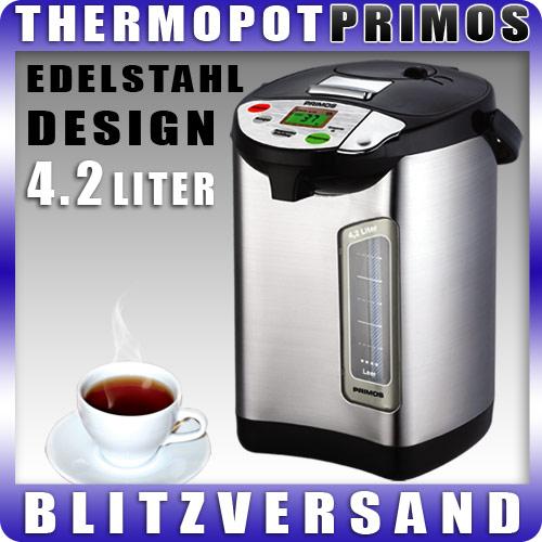 primos luxus 4 2 liter thermopot wasserkocher thermowasserkocher thermo ebay. Black Bedroom Furniture Sets. Home Design Ideas