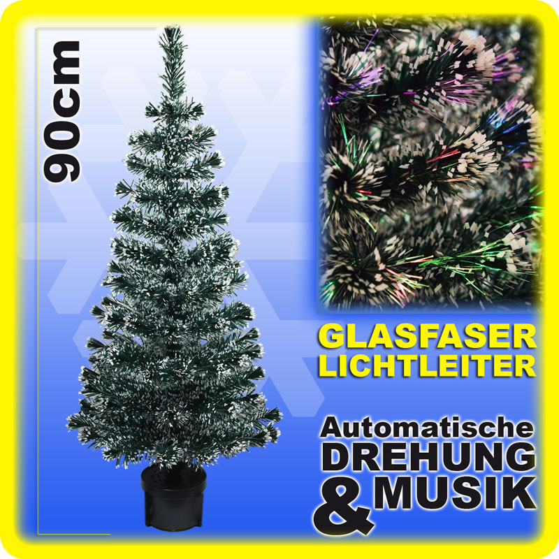 weihnachtsbaum 90 cm glasfaser musik drehend fiberoptik. Black Bedroom Furniture Sets. Home Design Ideas