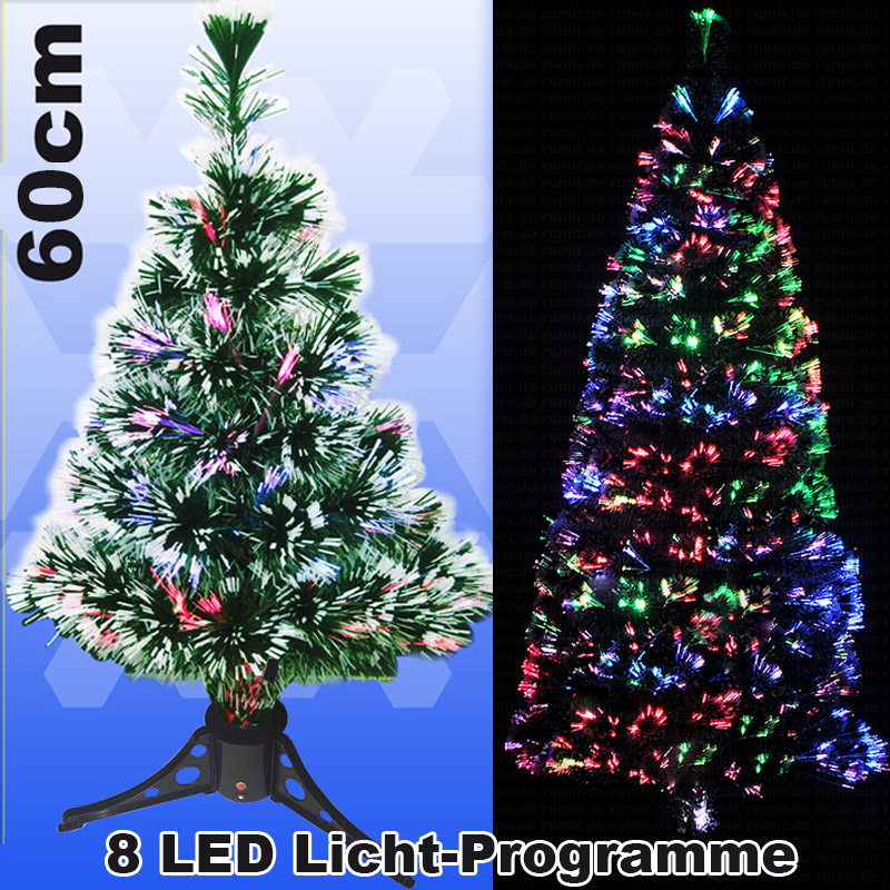 Kunstlicher weihnachtsbaum mit glasfaser beleuchtung