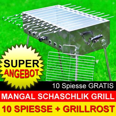 mangal mega edelstahl schaschlik grill 10 spiesse set kaufen online bestellen russische. Black Bedroom Furniture Sets. Home Design Ideas