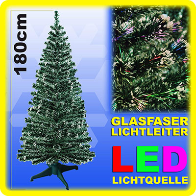 weihnachtsbaum 180cm led mit farbwechselnden glasfaser k nstlicher tannenbaum kaufen online. Black Bedroom Furniture Sets. Home Design Ideas
