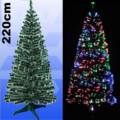 weihnachtsbaum 220cm led mit farbwechselnden glasfaser k nstlicher tannenbaum kaufen online. Black Bedroom Furniture Sets. Home Design Ideas